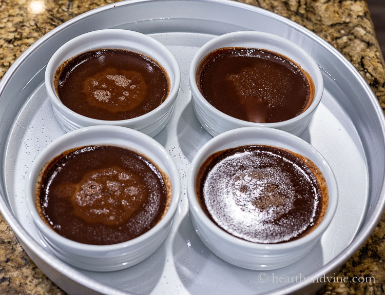 Chocolate pots de creme cooked in pan of water.