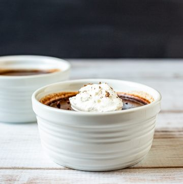 Two ramekins of chocolate pot de creme