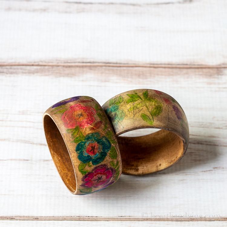 Two floral wooden bracelets