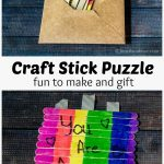 Two images. Top show craft sticks in a brown envelope and bottom shows a completed craft stick puzzle in rainbow colors with the words You Are Awesome