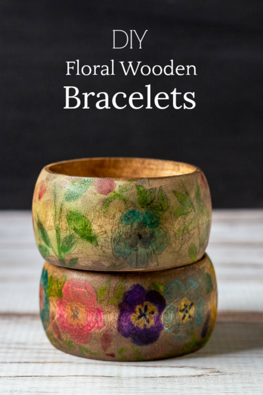 Stacked floral wood bracelets with text overlay