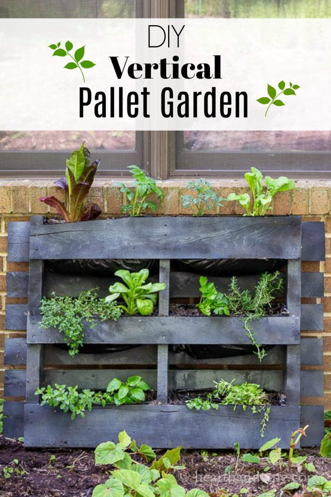 Upcycled wood pallet in to a vertical garden and text overlay.