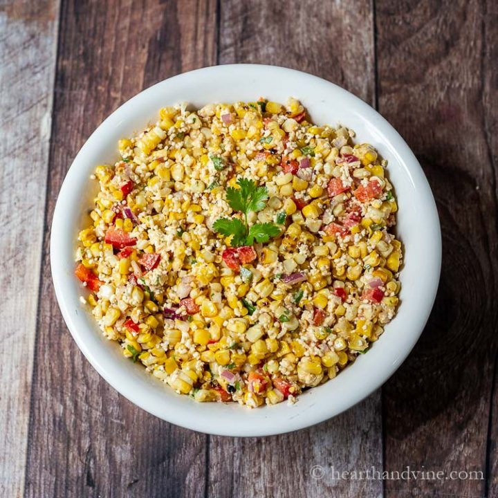 Aerial view of Mexican street corn salad.