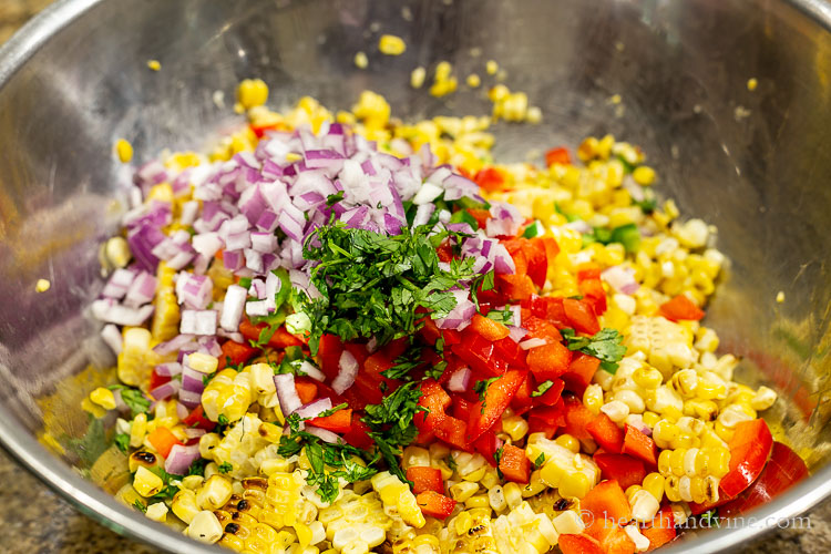 Chopped red onion, cilantro, red pepper, and corn kernals.