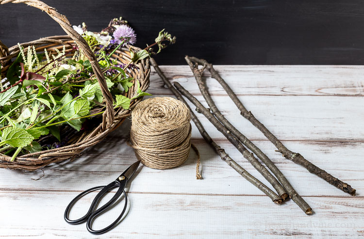 Supplies for Nature Weaving craft.