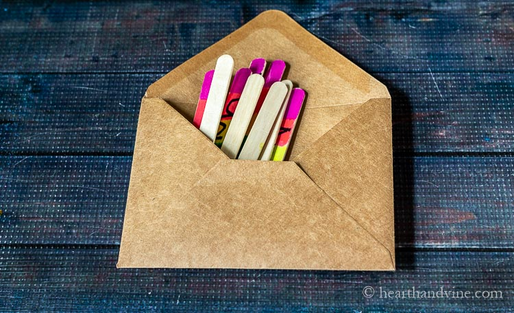 Puzzle sticks in an envelope