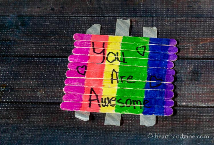 """Rainbow craft sticks with message """"You Are Awesome."""""""