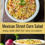 Side and top view of bowl of Mexican street corn salad with text in between.