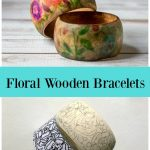 Wood floral bracelets image on top and bottom has a traced wood bracelet with carbon paper and coloring image.