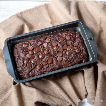 Chocolate zucchini bread in a loaf pan