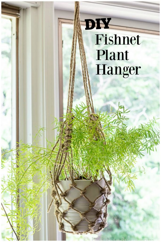 Asparagus fern hanging in a fishnet twine planter.
