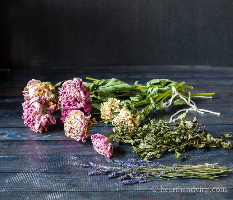 Dried peonies, mint and lavender.