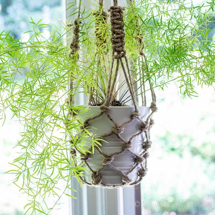 Twine fishnet hanging planter