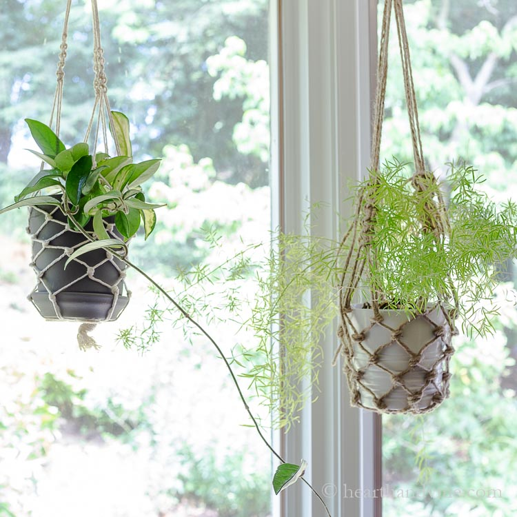 Two fishnet planters. One with white butchers twine and the other with natural garden twine.
