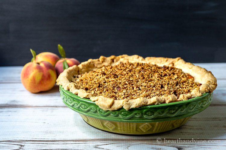 Peach pie crumble from the oven.