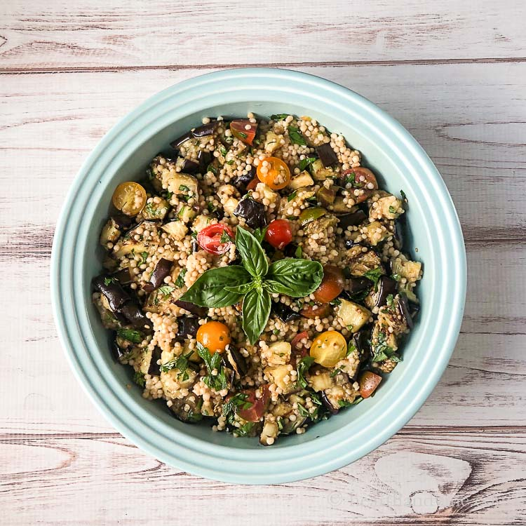 Grilled eggplant salad with heirloom tomatoes and Palestinian couscous.
