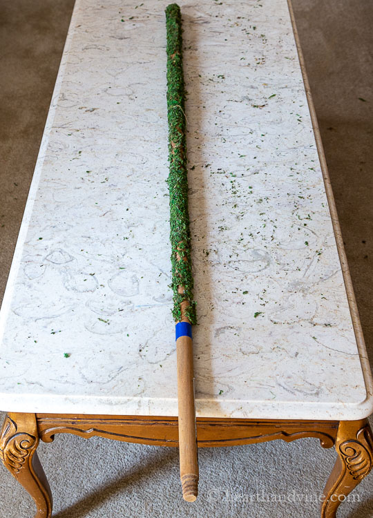 Old broom stick covered mostly with moss until the blue tape area at the bottom on a table.