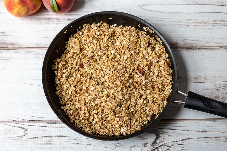 Skillet with crumble topping.