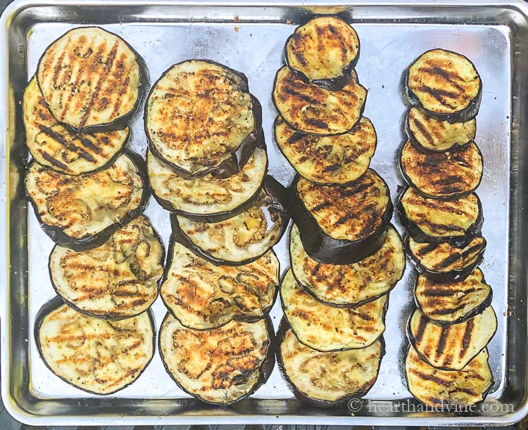 Pan of sliced grilled eggplant.