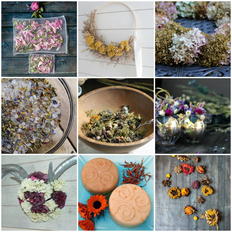 9 by 9 grid of dried flower project images.