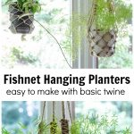 Two images of fishnet hanging planters. Top shows two pots hanging in window and the bottom is a closeup.