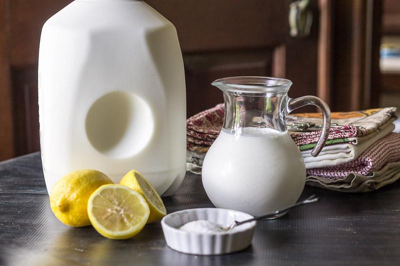 Milk, lemons, salt and cream