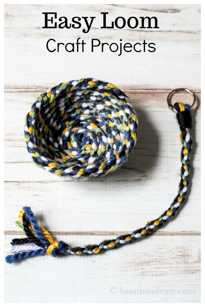 Yarn bowl and keychain made with multi-colored yarn and a cardboard loom wheel.