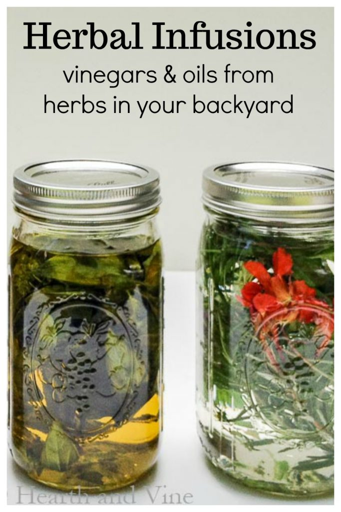 Herbal oil and vinegar mason jar infusions