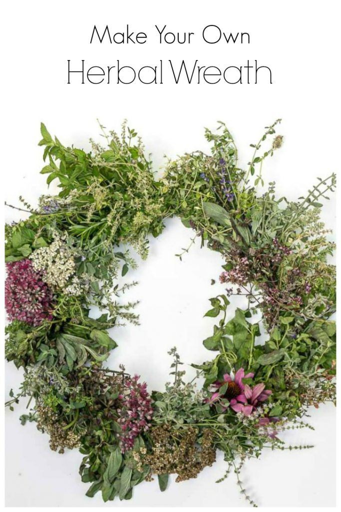 Herbal wreath made with fresh herbs and flowers.