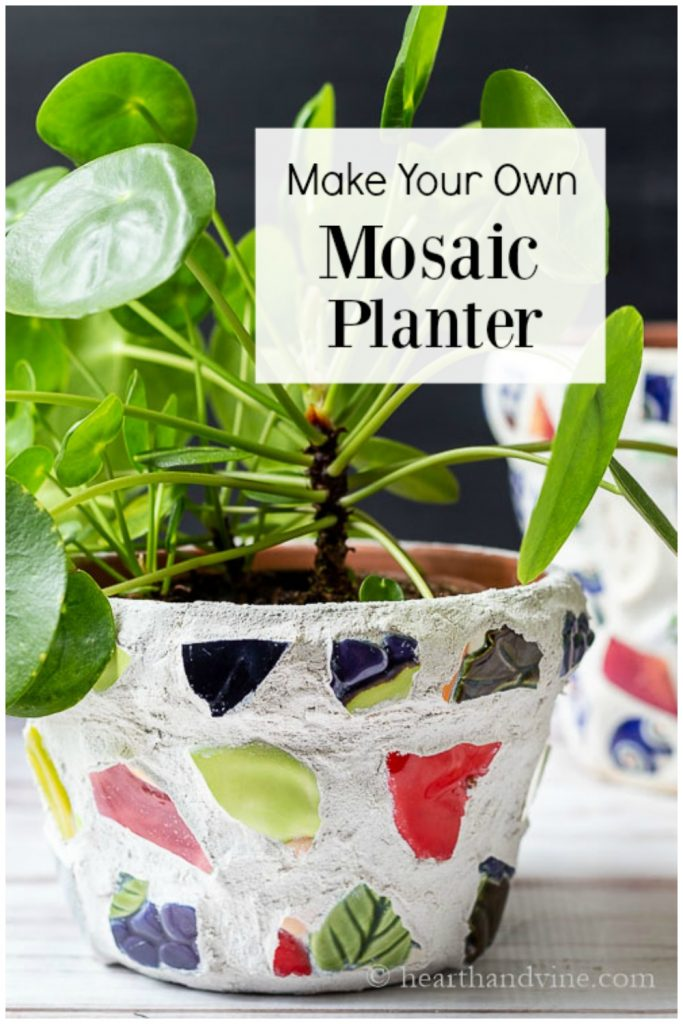 Mosaic planter with a friendship plant inside and text overlay saying Make Your Own Mosaic Planter.
