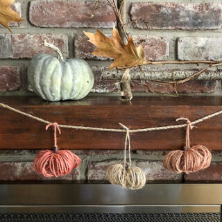 pumpkin garland on mantel