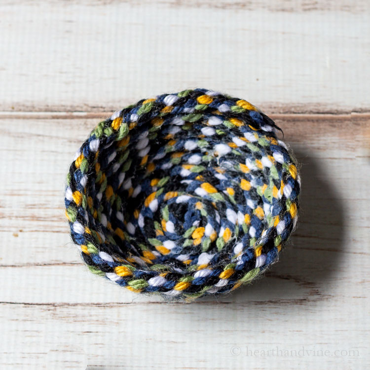Multi-colored yarn bowl.
