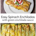 A serving of two enchilada on top with a full dish below.