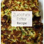 Two zucchini latkas with text overlay