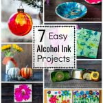 Collage of alcohol ink projects including a Christmas ornament, jewelry dishes, pumpkins, marble paper, metal tins, trivets and ceramic tile.