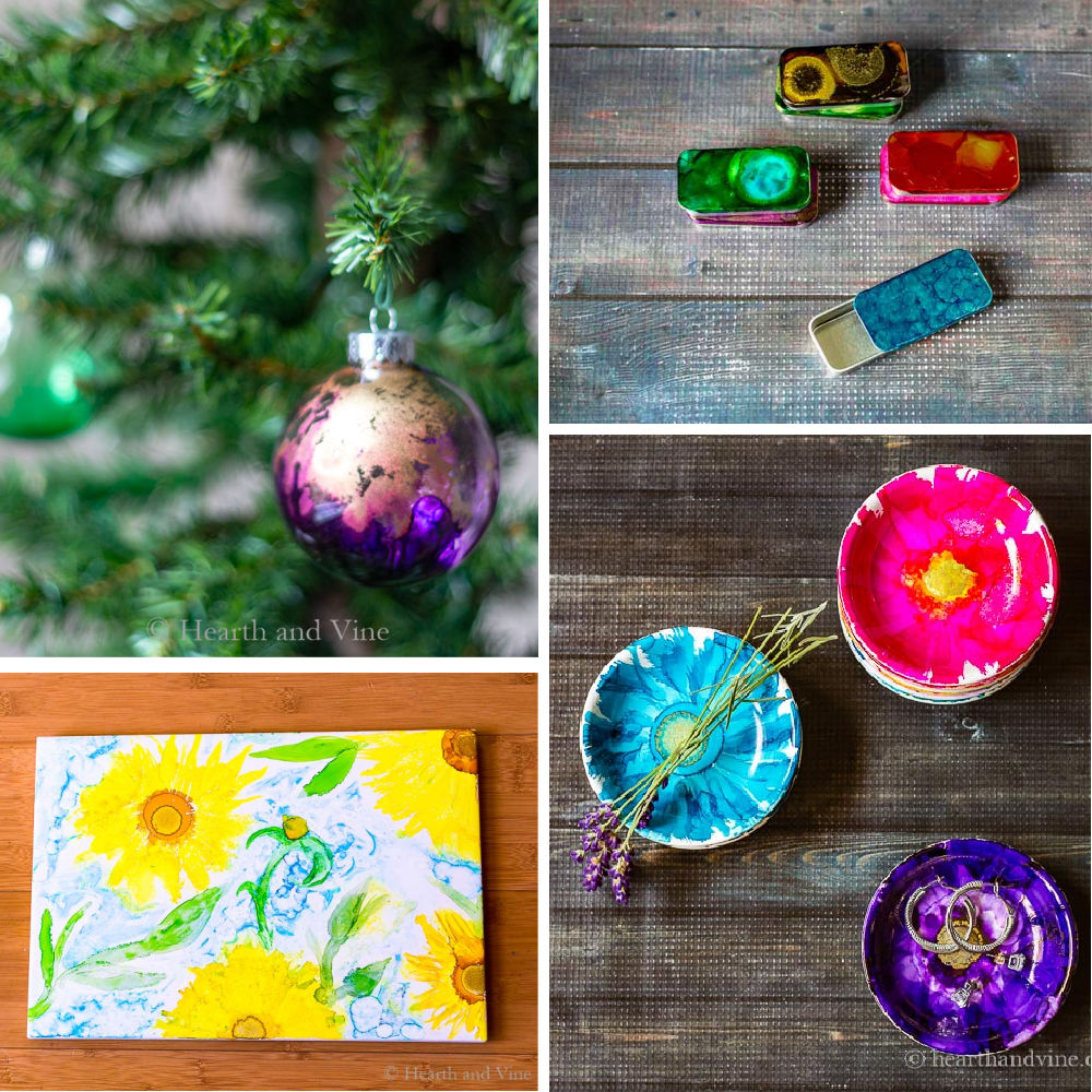 A collage of alcohol ink projects including a Christmas ornament, metal tin sliders, jewelry dishes and a floral trivet.