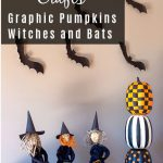 Apple head witches, stacked painted pumpkins and flying paper bats.
