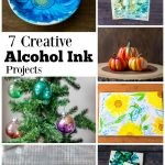 Collage of alcohol ink projects, dishes, paper, trivets, ornaments and pumpkins