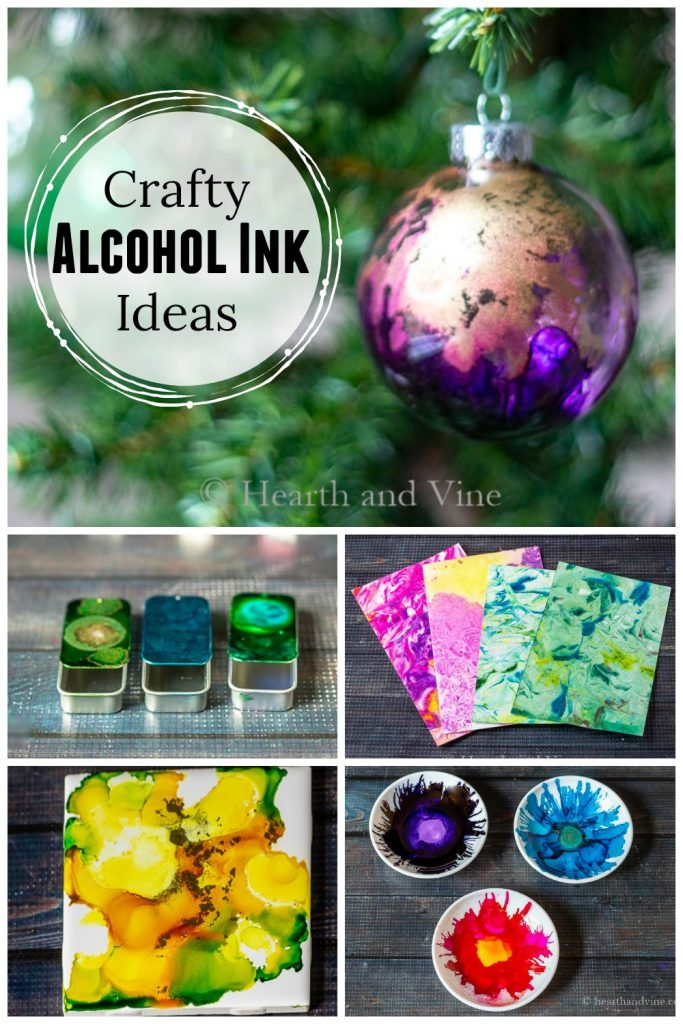 A Christmas ornament, metal slider tins, marbled paper, ceramic tiles and jewelry dishes all in a collage made with alcohol inks.