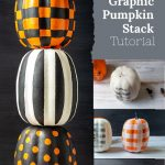 Three painted stacked pumpkins and stages of the process on the right.