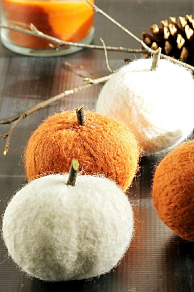 Pumpkins made from felted yarn.