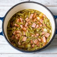 Pot of ham and green bean soup