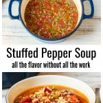Pot of stuffed pepper soup over an image of a serving bowl of stuffed pepper soup.