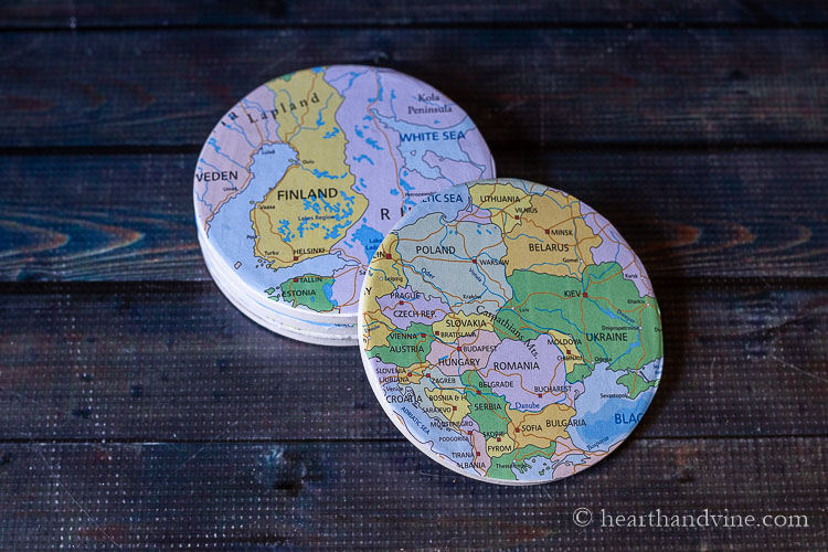 Coasters covered with maps.