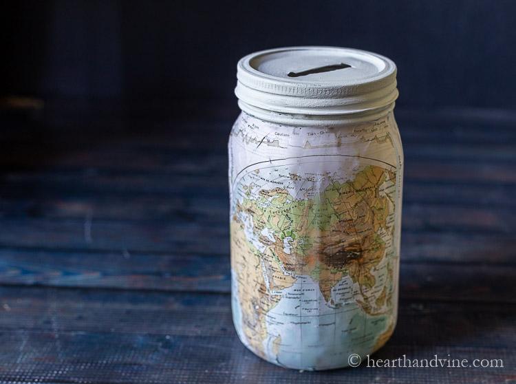 Mason jar map bank.