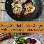 Pork chops and sage in a skillet