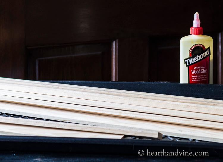 Stack of wood slats and wood glue