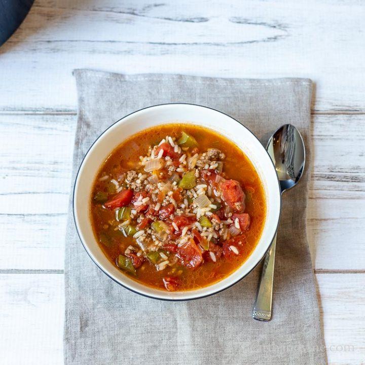 Bowl of stuffed pepper soup.