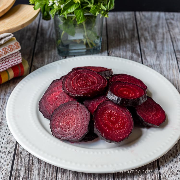 Plate of sliced oven roasted red beets.