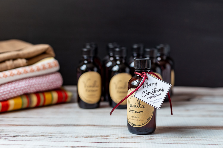 Vanilla extract bottle with Merry Christmas tag.